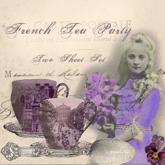 French Tea Party - Two Sheet Set - Tea Party in Paris Digital Collage Sheet by VelvetRevived on Etsy, $5.00 - A tea party in Paris? Oh, yes, please! This fun and colorful digital collage set includes 6 teacups, a teapot, creamer and sugar bowl, all depicting vintage scenes of Paris! I've also included some sweet pansies and three sweet children, bearing bouquets of flowers and helping to serve the tea!