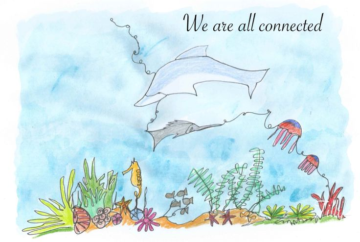 We are all connected. This is created with a single line. Sealife. Underwater. Fish. Watercolour. Quote. Positivity