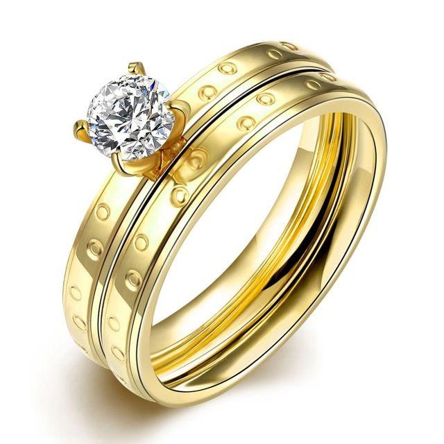 Мода 18 К позолоченные кольца Стали титановые кольца Золото цвет кристалл кольцо Русский стиль multi круг кольцо подарок R051