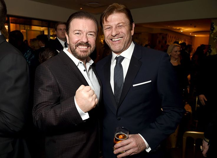 Sean Bean is clearly amused by Ricky Gervais's impression of that creepy meme kid. (Photo: Getty Images)