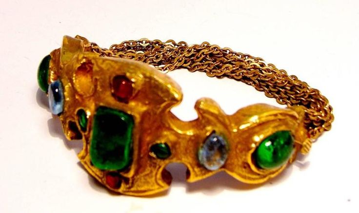 Ultra Rare Chanel Bracelet Haute Couture Poured Glass Goossens Etruscan 1970s  2
