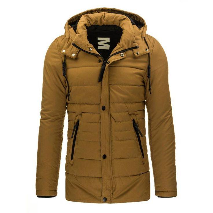 Pánská zateplená bunda s kapucí karamelová