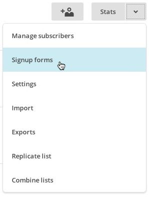 List dropdown, signup forms