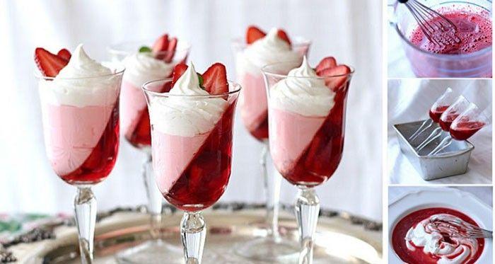 Lehký, chutný a přitom i skvěle vypadající dezert podávaný v pohárech. Jahody můžete nahradit libovolným ovocem, na které máte chuť. Případně můžete osladit cukrem nebo medem. Mňamka!