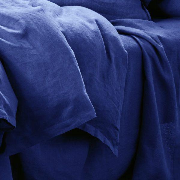 Pure Linen QB Quilt Cover Set - Ocean - $309.95