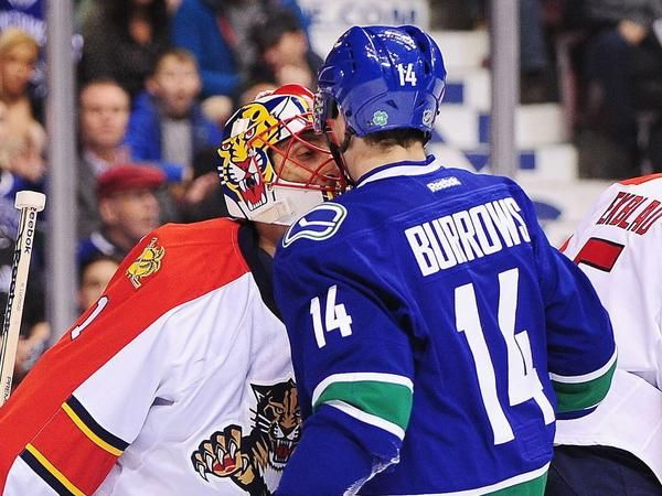 Burrows asking Luongo, want to go for a drink after the game. Text me Bro.