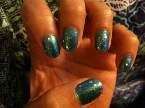 blue with sparkles nails