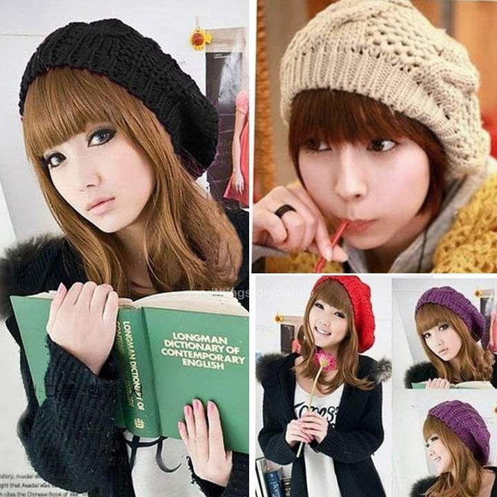 Winter Warm Women Beret Braided Baggy Beanie Crochet Hat Ski Cap 6 Colors