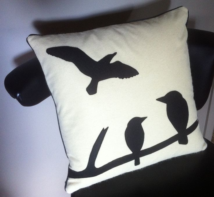 The Birds (Handmade wool blended felt cushion with bird appliqué, piping and invisible zip. 14'')