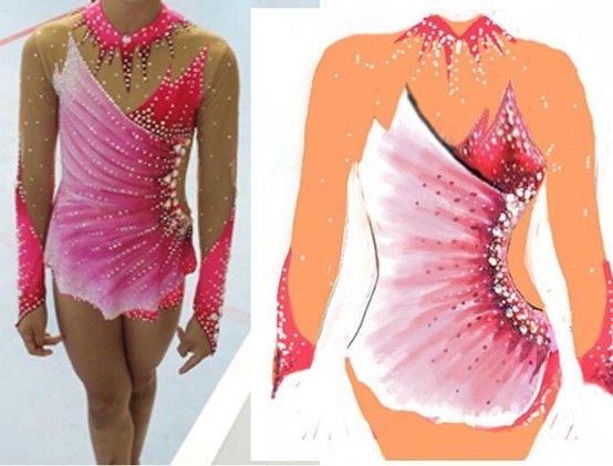 Con Falda - Diseño, confección y pintado de maillot para gimnastas.