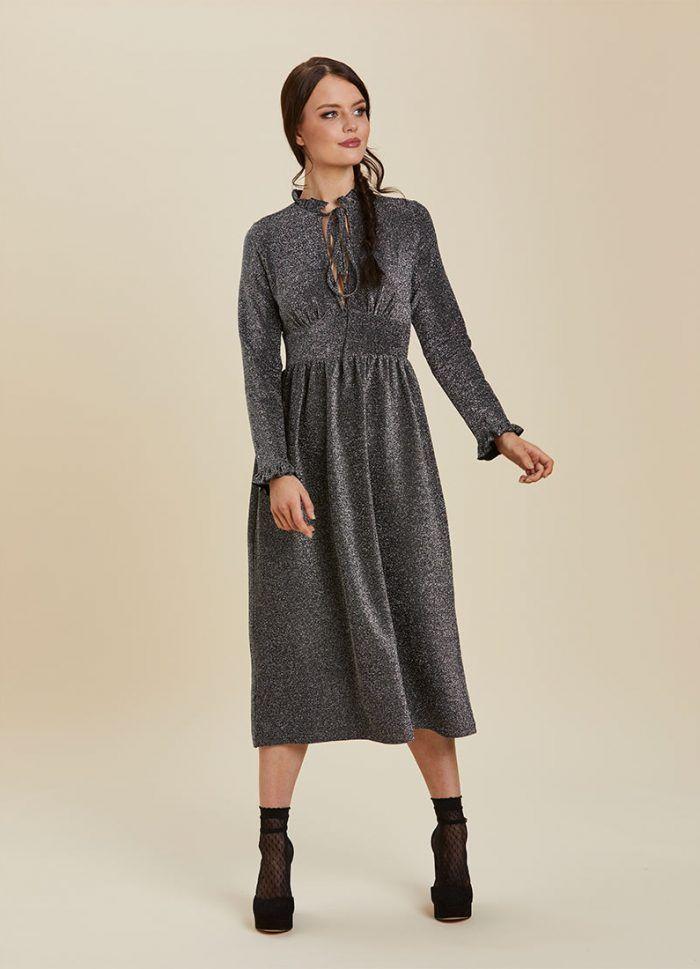 b632469d934 Sparky Metallic Midi Dress