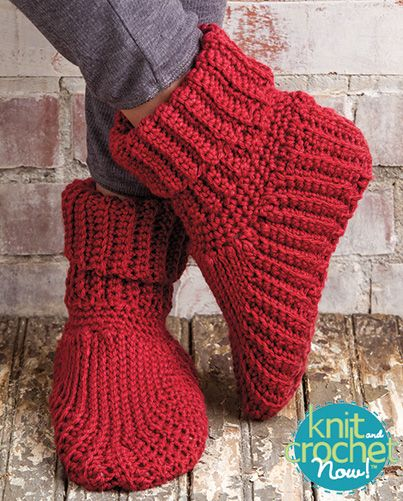 Free Slipper Boots Crochet Pattern Download -- Designed by Elsie Caddey. Featured in Season 5, episode 508, of Knit and Crochet Now! TV. Download here: https://www.anniescatalog.com/knitandcrochetnow/patterns/detail.html?pattern_id=29
