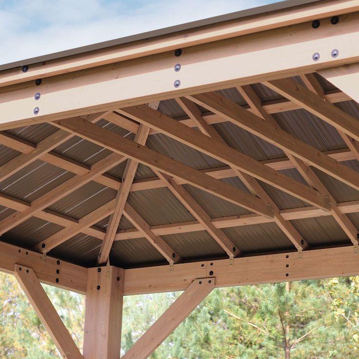 12 X 16 Cedar Gazebo With Aluminum Roof Pergola Pergola Patio Pergola Plans