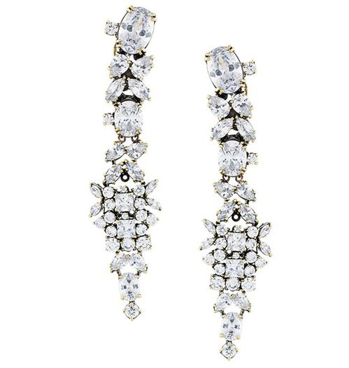 Gold plated brass and crystal White Eclipse #Iosselliani #earrings