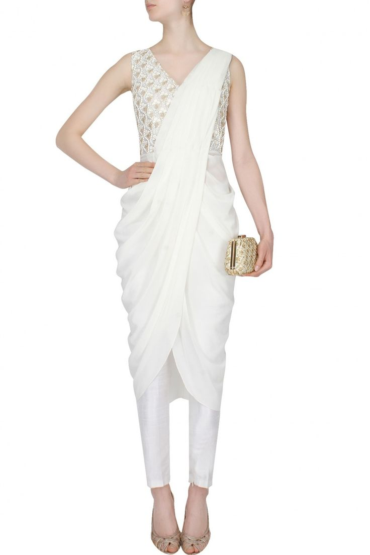 Ivory zardozi, leather and dori work drape saree available only at Pernia's Pop Up Shop.
