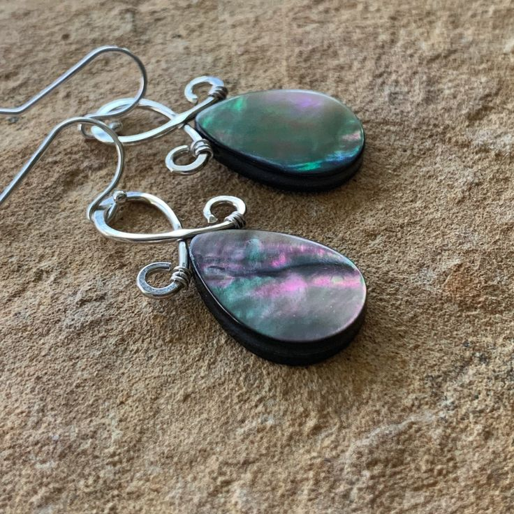 Black Mother of Pearl Earrings | Sterling Silver | Iridescent Shell Earrings
