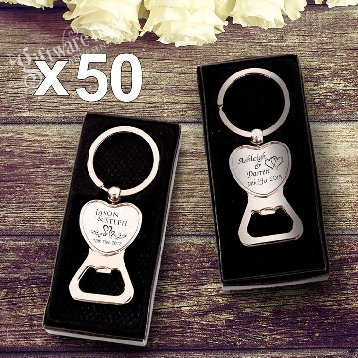 50 x Engraved Chrome Heart Bottle Openers Wedding Favour in Gift Box Personalised Heavyweight Keyring Bomboniere Present for Guests Bulk de GiftwareDirect en Etsy https://www.etsy.com/mx/listing/240211548/50-x-engraved-chrome-heart-bottle