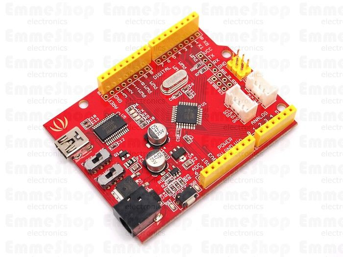 Seeeduino is Arduino compatible board. Based on Duemilanove Schematic, 100% compatible to its existing program, shield and IDEs. On the hardware part, remarkable changes are taken to improve the flexibility and user experience.