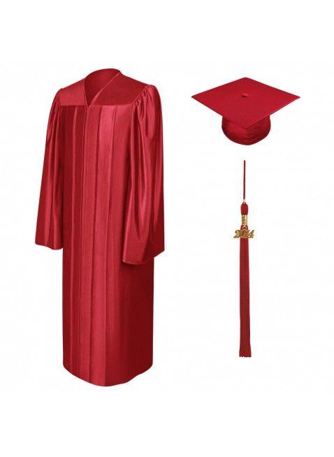 Birrete, toga y borla de graduación de secundaria rojo brillante