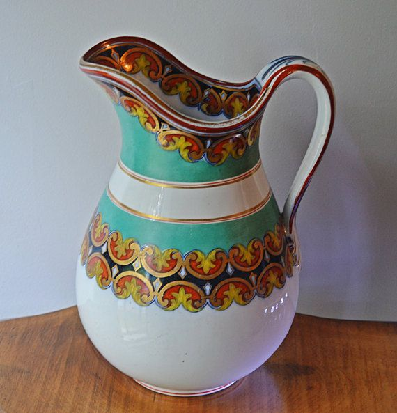 Italian Hand Painted Pitcher Vintage Pitcher by Collectitorium