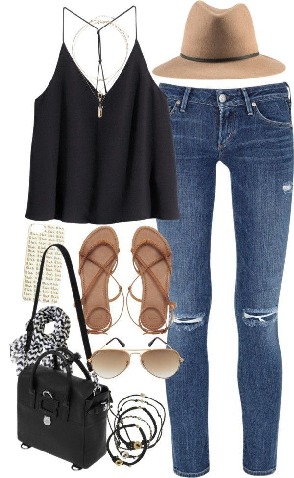 #summer #outfits / Black Crop Camisole + Hat