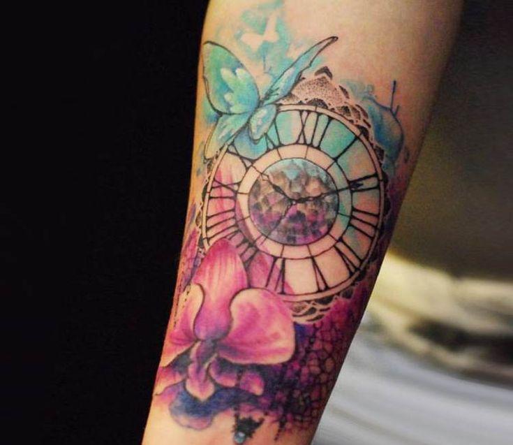 Clock tattoo by Versus Ink