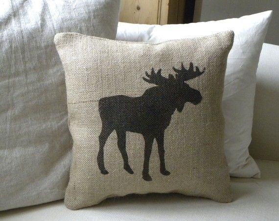 Burlap Moose pillow Cushion Christmas winter or boys by TheNestUK, $22.00