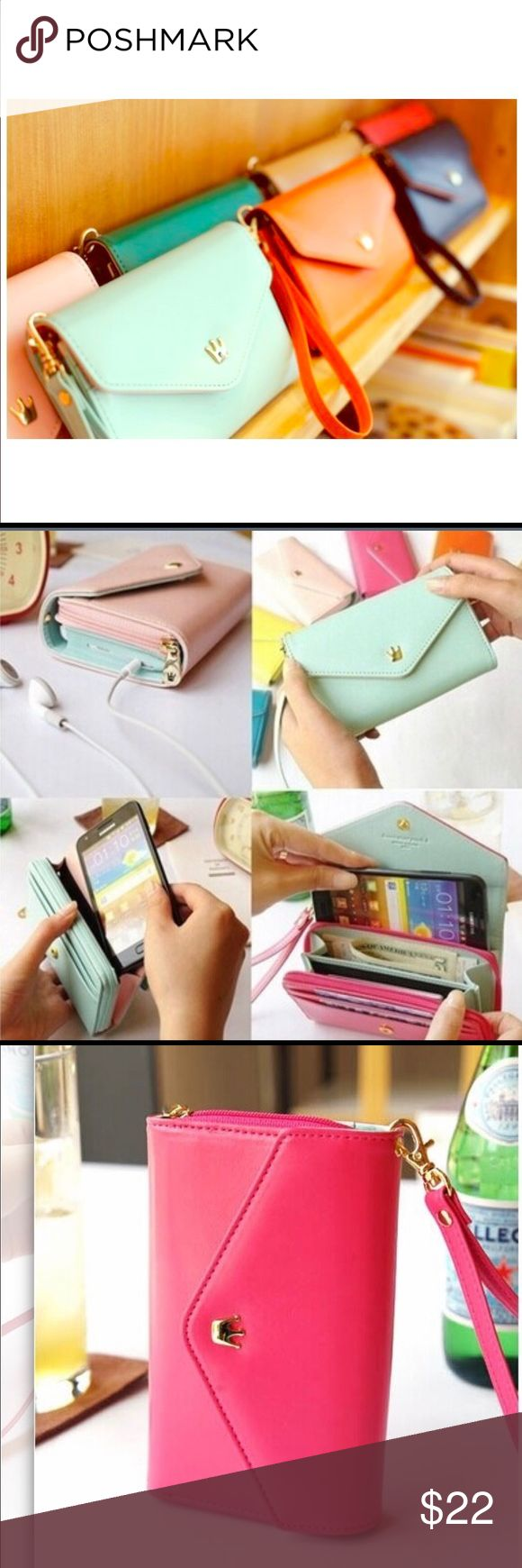 Crown smartphone wallet/wristlest 💋 Crown smartphone pouch wallet that also has attachable strap to convert to wrislet you can store your smartphone,cards, money, etc. fits Samsung galaxy s3 s4 s5 for iPhone 5 5s 5g and iPhone 6 and but not necessarily have to store phone to reap the benefits of this cutie💋 colors are Hot Pink, Navy Blue and Mint Blue just specify color when purchasing Bags Wallets