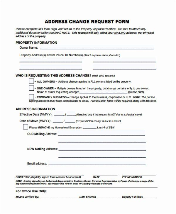 Sample Change Request Form Awesome Change Form Template Change Request Change Of Address Form