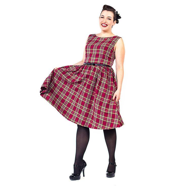 Swing Audrey lange jurk met tartan schot