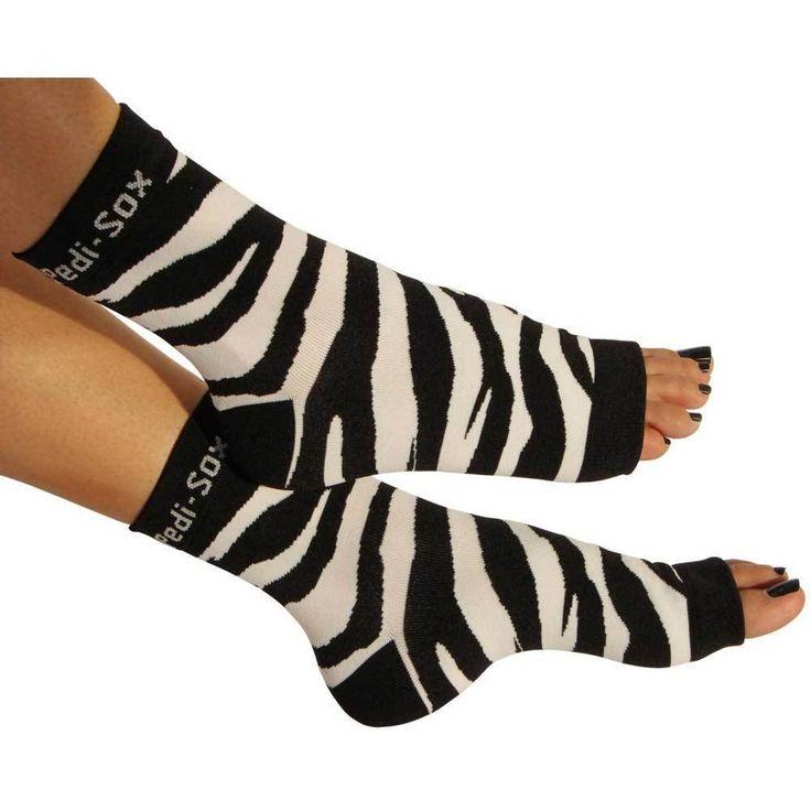 Pedi-Sox Black and White Wild Zebra Pedicure Socks - Ultra Collection