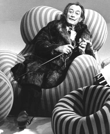 Salvador Dali in one of Gaetano Pesce's 'Up' chairs, 1969