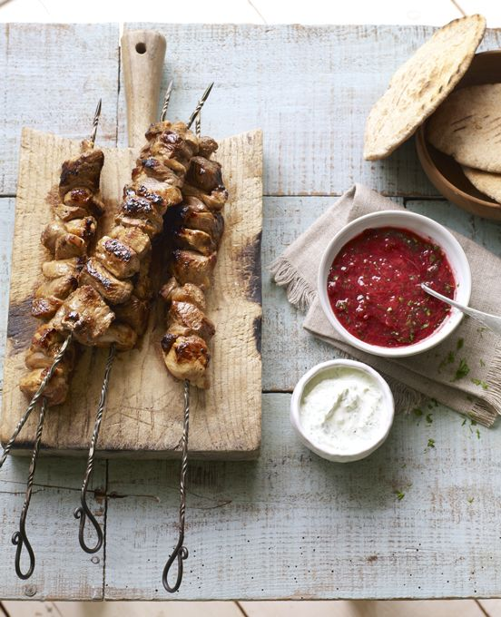 Shashlik is a Russian version of shish kebabs. Served with with a sour cream dip and plum sauce.