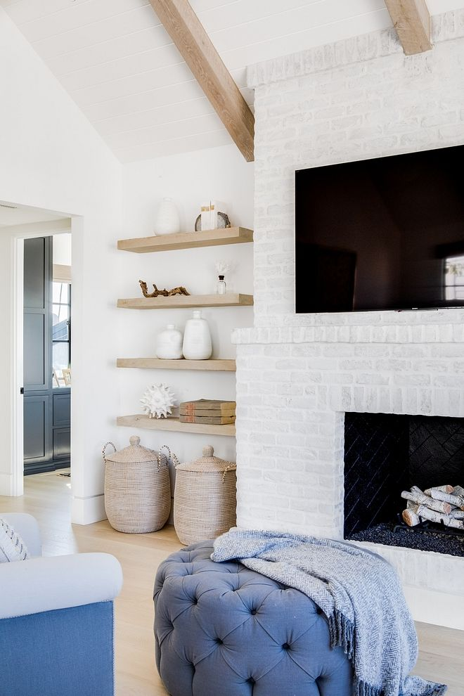 Brick Is Whitewashed In Benjamin Moore Oc 17 White Dove Flat Benjamin Moore Oc 17 White Dove Fl Family Room Paint Colors Home Interior Design Family Room Paint