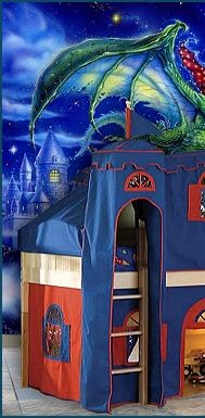 Oh how excited your son will be with the Prince Daniel Loft Bed. Striking and attractive, this thrilling bed is finished in natural, and turned into a place of fun with the red and blue tent above it, and the sharp curtains below it. The tower and the slide can be added to truly make this bed the bed of every boy's dreams! Whether it's morning, noon, or night, your little boy will be thrilled to prepare for bed with this winning piece. Dragon wall murals