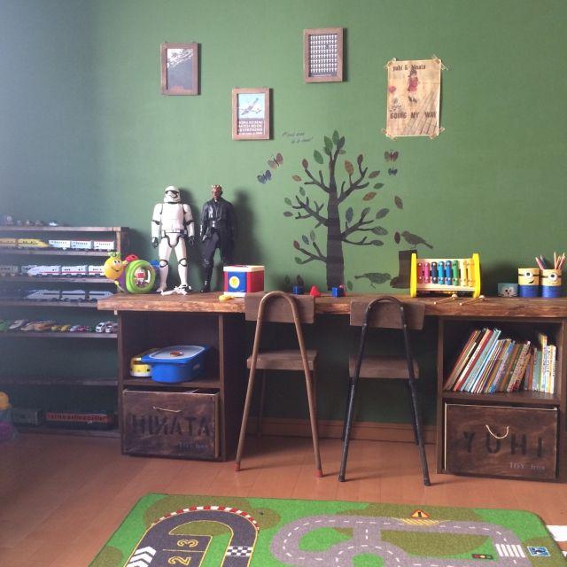 カラーボックス/段ボールリメイク/こどもと暮らす/DIY棚/子供部屋/ピースツリー…などのインテリア実例 - 2016-03-04 21:52:24 | RoomClip(ルームクリップ)