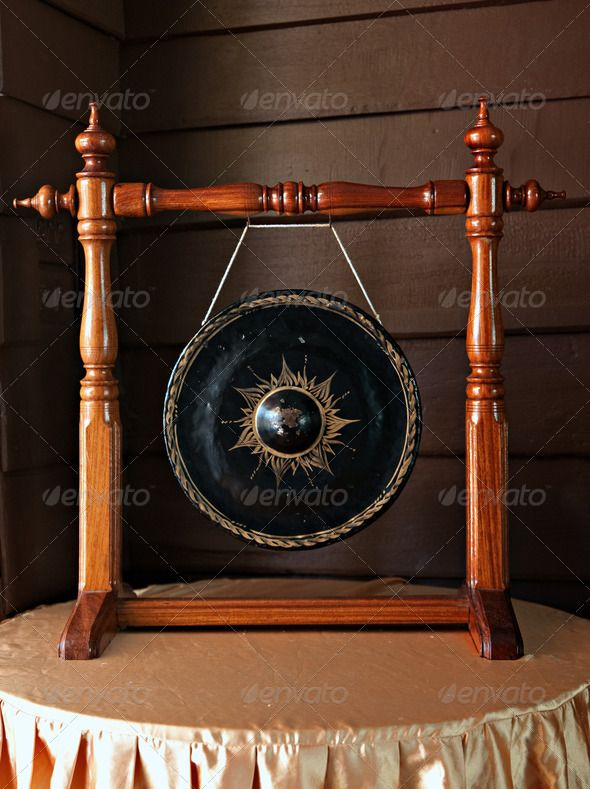 Gong Ancient Antique Asia Asian Background Brass N2 Stock Photo Print Graphic
