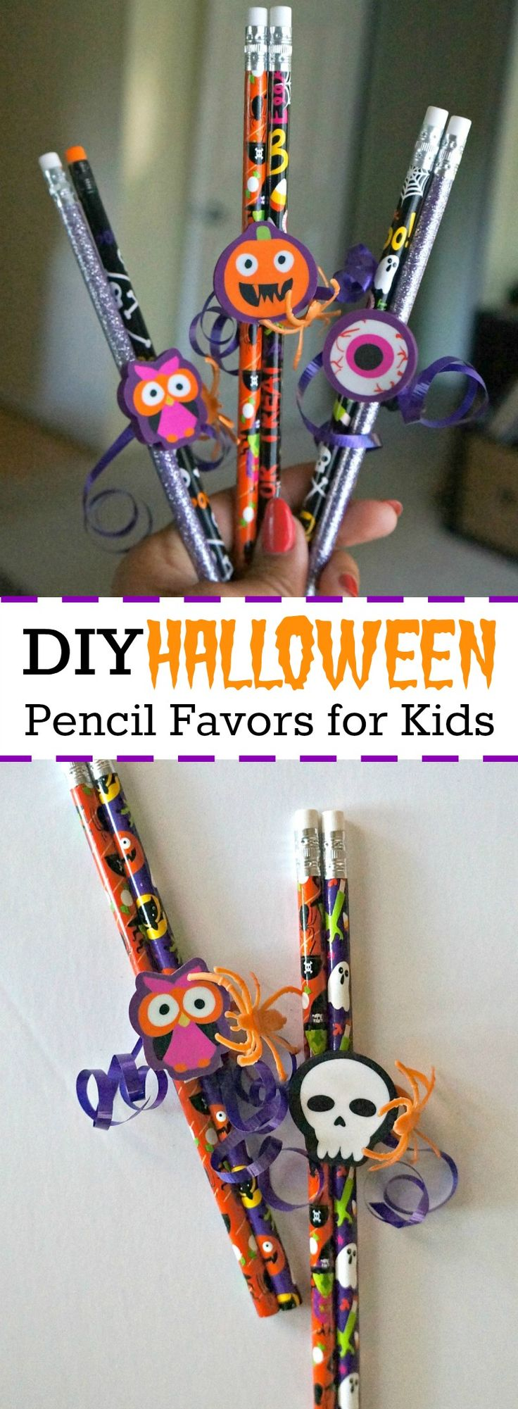 DIY Halloween Pencil Party Favors for Kids - No Candy!