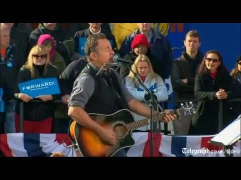 Bruce Springsteen joins Barack Obama on final day of campaigning US Election 2012 - YouTube