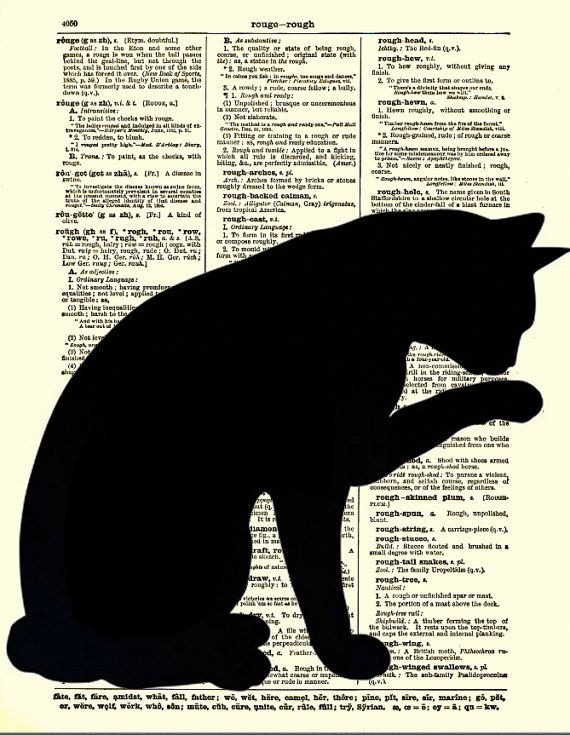 Dictionary Art Page, Sleek Cat Silhouette, Black Cat Art, Antique Dictionary Page