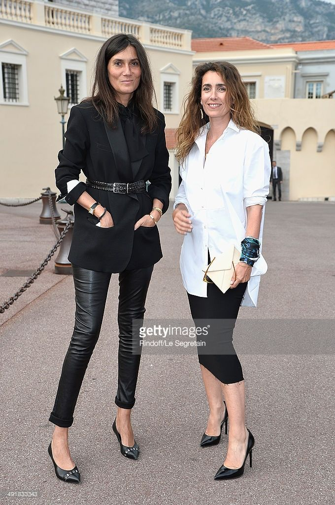 Emmanuelle Alt and Mademoiselle Agnes attend the Louis Vuitton Cruise Line Show 2015 at Palais Princier on May 17, 2014 in Monte-Carlo, Monaco.