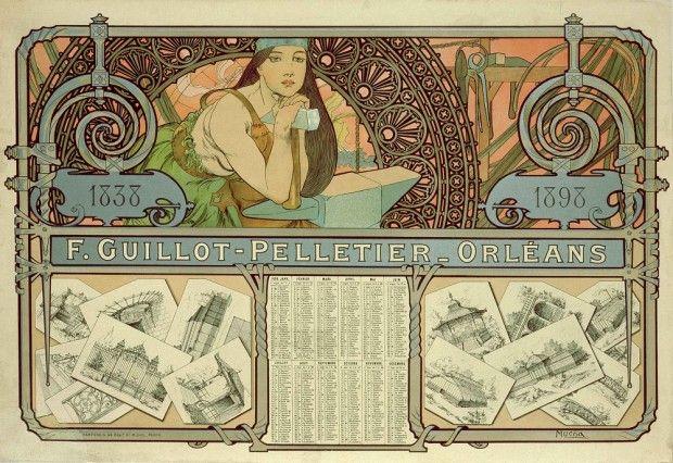 Art: Alfons Mucha ~F. Guillot Pelletier-Orleans Calendar (1897)~
