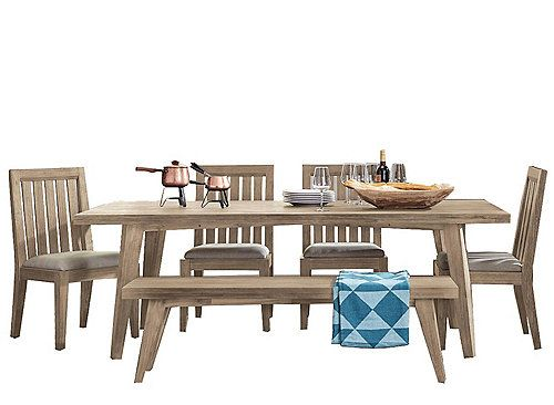 The Harbourside 6 piece dining set with bench features a plank-inspired table top in solid acacia. Dining chairs feature extra-wide back slats in solid acacia while the bench offers plenty of extra seating, enhancing this dining room's appealing blend of contemporary and casual style.