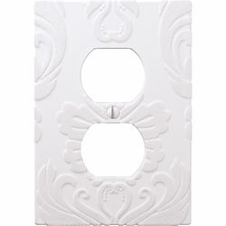 flocked damask white 1 duplex outlet wallplate from wallplate warehouse