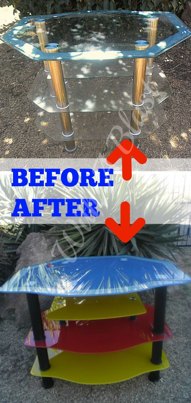 How to spray paint an old ugly glass TV stand {and preventing future scratches!}