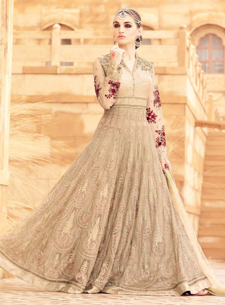 Beige Net Floor Length Anarkali Suit 88831