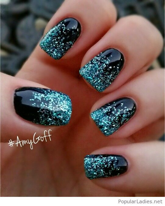 black-gel-nails-with-blue-glitter-tips