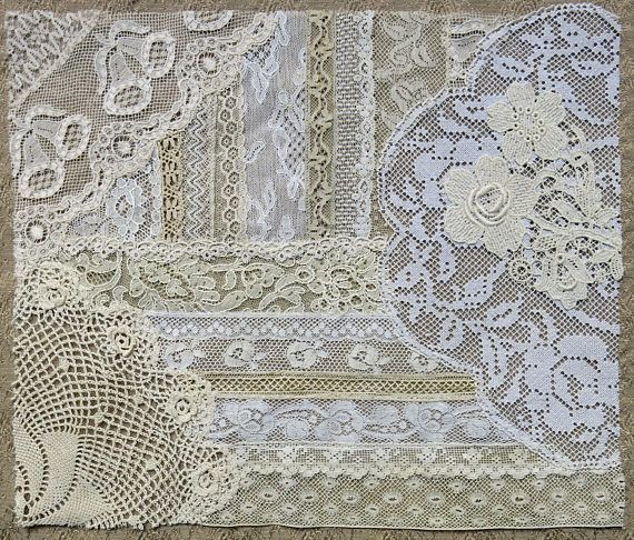 Vintage & Antique Lace Collage, No. 42, Frameable Lace Art ... or use as an embellishment for crazy quilting, heirloom sewing, fabric art, books, journals, assemblage, mixed media ...  ~ A hand-sewn collage of vintage and antique lace trims, flourishes, bits and pieces ... approx. 10  x 12 ~ Shades of warm ivory to light ecru ~ Hand-pieced onto fine, soft, and supple netting. ~ Leave as-is to frame or use for your project ... embellish with embroidery, beads, buttons, ribbons, jewelry tid...