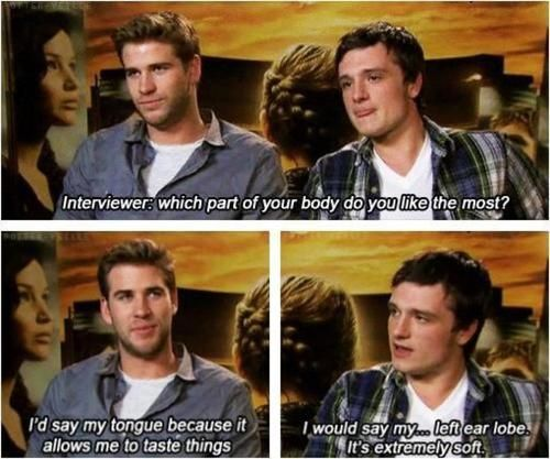 He's so cool and funny. :)The Hunger, Josh Hutcherson, Funny, Liam Hemsworth, Hunger Games, Hungergames, Joshhutcherson, Humor, Liamhemsworth