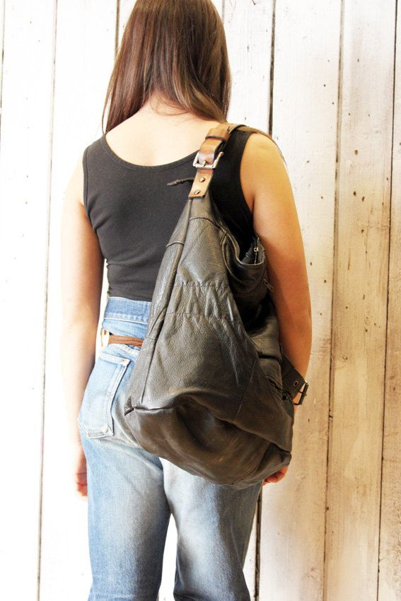 BLACK SAC 2 Large Black Handmade Italian Leather Tote Bag di LaSellerieLimited su Etsy